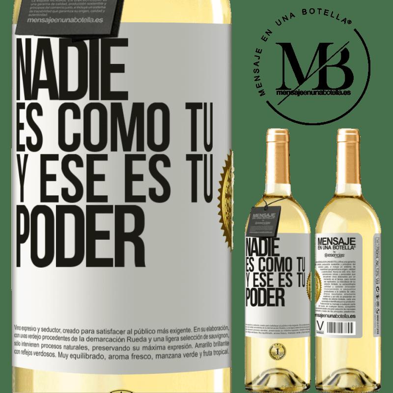24,95 € Envío gratis   Vino Blanco Edición WHITE Nadie es como tú, y ese es tu poder Etiqueta Blanca. Etiqueta personalizable Vino joven Cosecha 2020 Verdejo