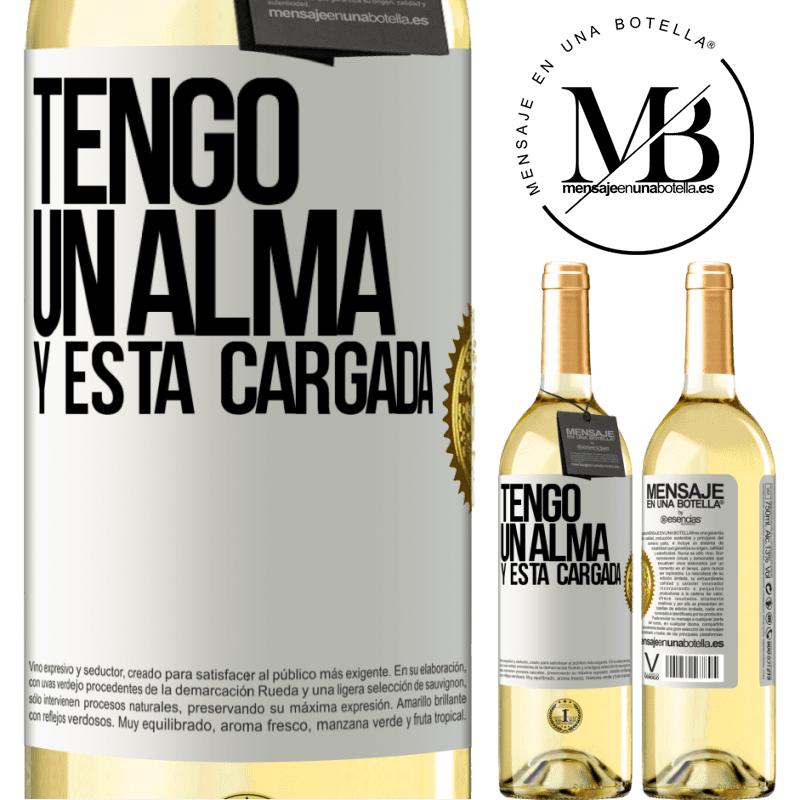 24,95 € Free Shipping | White Wine WHITE Edition Tengo un alma y está cargada White Label. Customizable label Young wine Harvest 2020 Verdejo