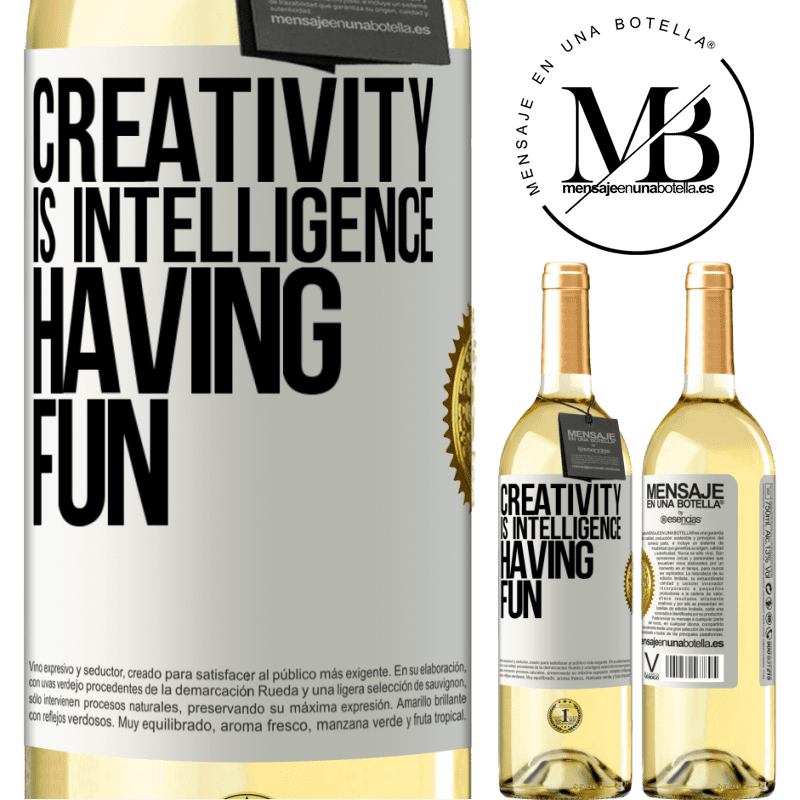 24,95 € Free Shipping   White Wine WHITE Edition Creativity is intelligence having fun White Label. Customizable label Young wine Harvest 2020 Verdejo