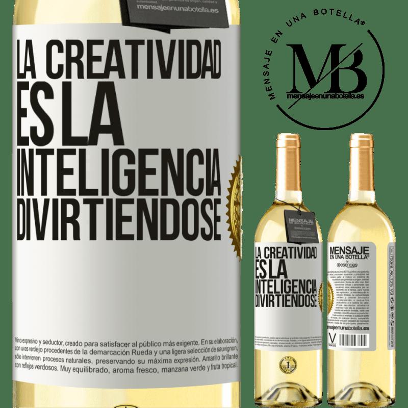 24,95 € Envoi gratuit | Vin blanc Édition WHITE La créativité, c'est l'intelligence qui s'amuse Étiquette Blanche. Étiquette personnalisable Vin jeune Récolte 2020 Verdejo