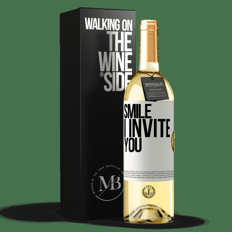 24,95 € Free Shipping | White Wine WHITE Edition Smile I invite you White Label. Customizable label Young wine Harvest 2020 Verdejo