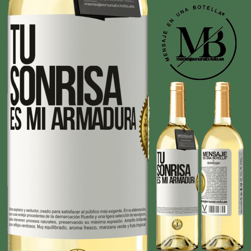 24,95 € Envío gratis | Vino Blanco Edición WHITE Tu sonrisa es mi armadura Etiqueta Blanca. Etiqueta personalizable Vino joven Cosecha 2020 Verdejo