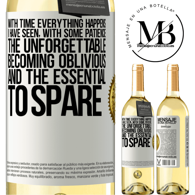 24,95 € Free Shipping | White Wine WHITE Edition With time everything happens. I have seen, with some patience, the unforgettable becoming oblivious, and the essential to White Label. Customizable label Young wine Harvest 2020 Verdejo