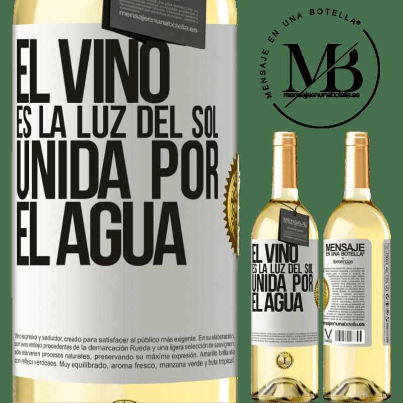 24,95 € Envío gratis | Vino Blanco Edición WHITE El vino es la luz del sol, unida por el agua Etiqueta Blanca. Etiqueta personalizable Vino joven Cosecha 2020 Verdejo