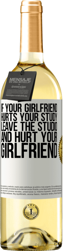 24,95 € Free Shipping | White Wine WHITE Edition If your girlfriend hurts your study, leave the studio and hurt your girlfriend White Label. Customizable label Young wine Harvest 2020 Verdejo