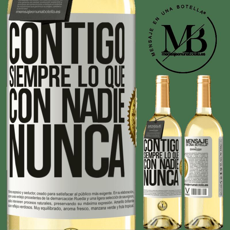 24,95 € Envoi gratuit | Vin blanc Édition WHITE Avec toi toujours avec quiconque Étiquette Blanche. Étiquette personnalisable Vin jeune Récolte 2020 Verdejo