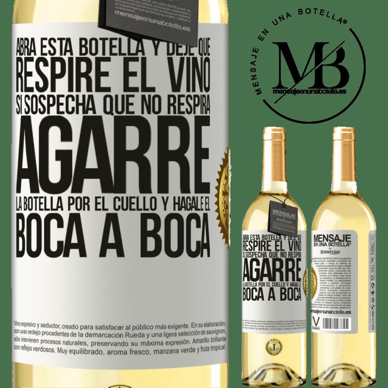 24,95 € Envoi gratuit   Vin blanc Édition WHITE Ouvrez cette bouteille et laissez respirer le vin. Si vous pensez que vous ne respirez pas, prenez le flacon par le cou et Étiquette Blanche. Étiquette personnalisable Vin jeune Récolte 2020 Verdejo