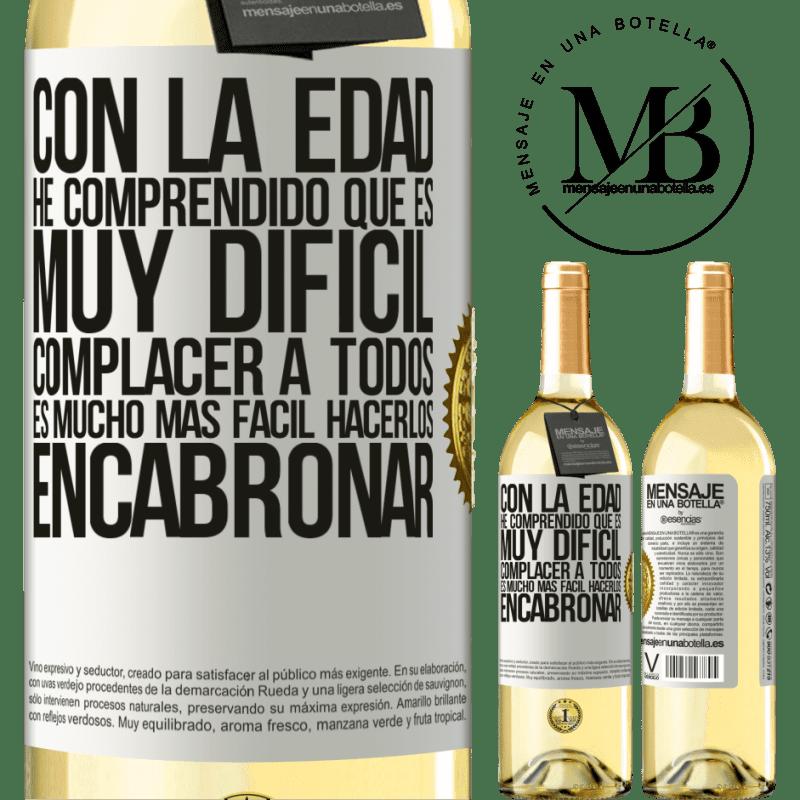 24,95 € Envío gratis   Vino Blanco Edición WHITE Con la edad he comprendido que es muy difícil complacer a todos. Es mucho más fácil hacerlos encabronar Etiqueta Blanca. Etiqueta personalizable Vino joven Cosecha 2020 Verdejo