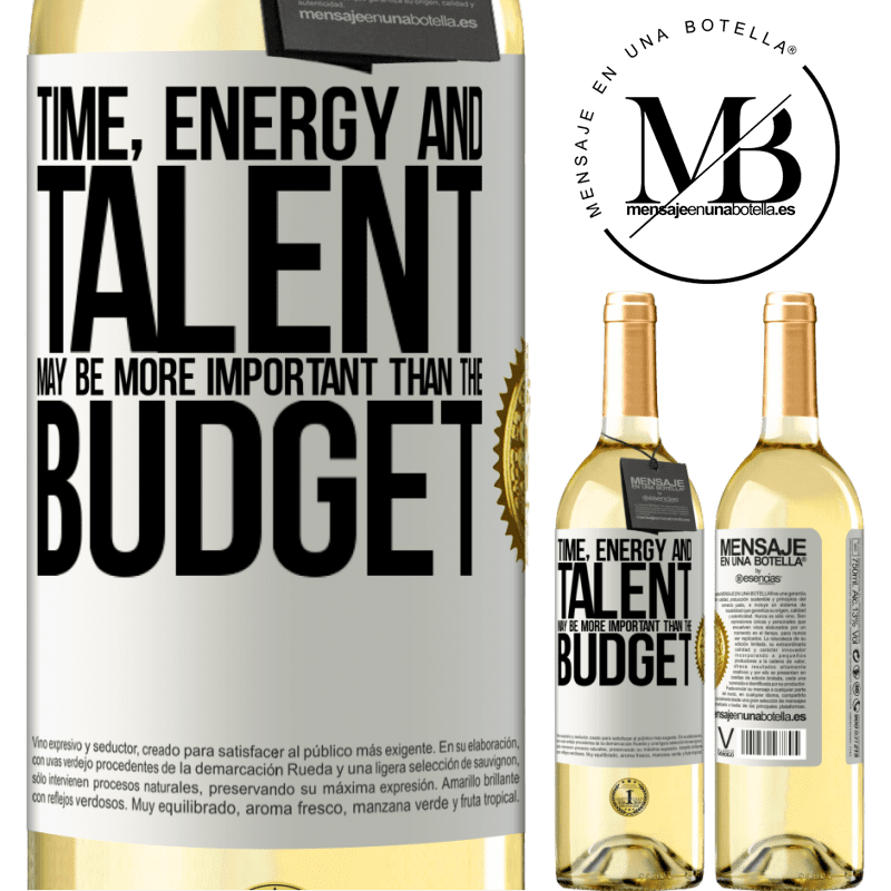 24,95 € Free Shipping | White Wine WHITE Edition Time, energy and talent may be more important than the budget White Label. Customizable label Young wine Harvest 2020 Verdejo
