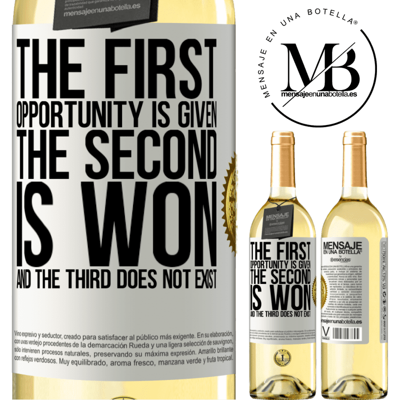 24,95 € Free Shipping   White Wine WHITE Edition The first opportunity is given, the second is won, and the third does not exist White Label. Customizable label Young wine Harvest 2020 Verdejo