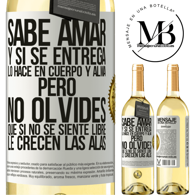 24,95 € Envío gratis   Vino Blanco Edición WHITE Sabe amar, y si se entrega, lo hace en cuerpo y alma. Pero, no olvides, que si no se siente libre, le crecen las alas Etiqueta Blanca. Etiqueta personalizable Vino joven Cosecha 2020 Verdejo