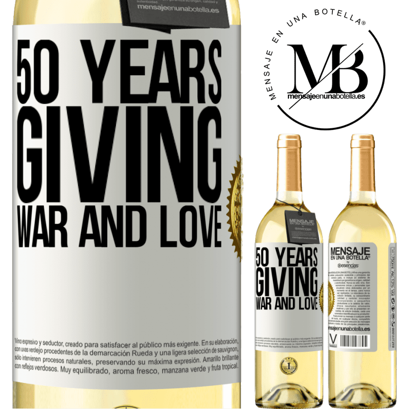 24,95 € Free Shipping | White Wine WHITE Edition 50 years giving war and love White Label. Customizable label Young wine Harvest 2020 Verdejo
