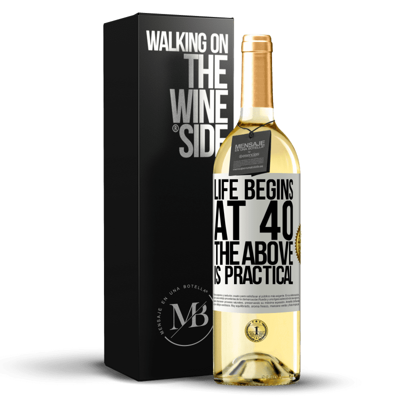 24,95 € Free Shipping | White Wine WHITE Edition Life begins at 40. The above is practical White Label. Customizable label Young wine Harvest 2020 Verdejo