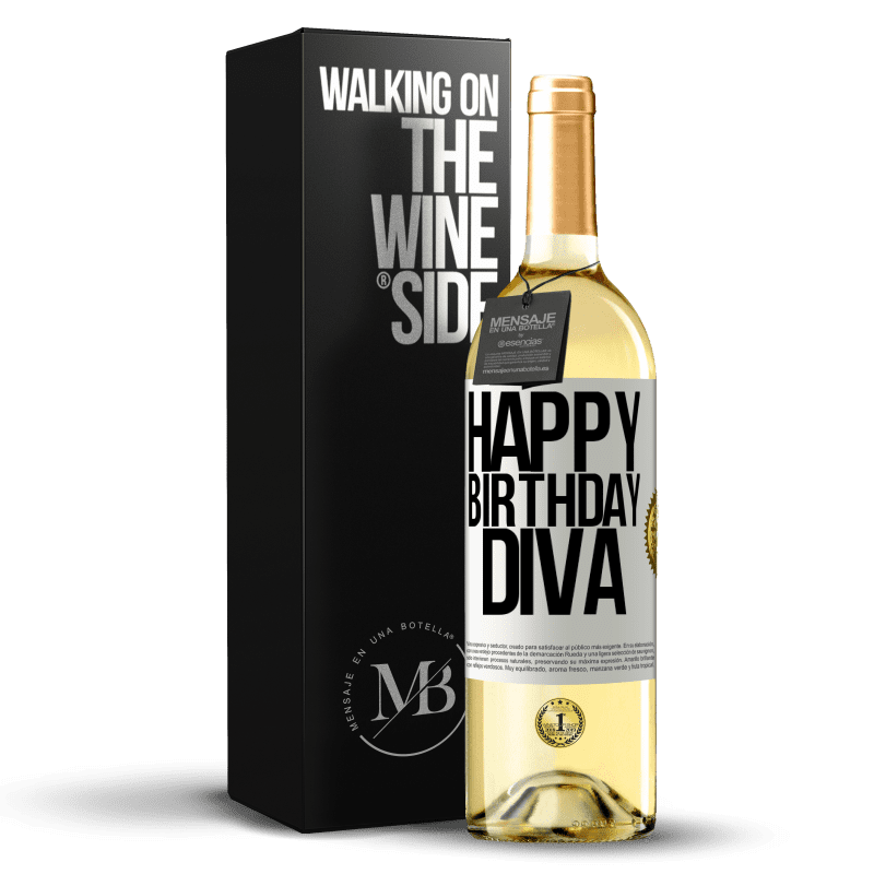 24,95 € Free Shipping | White Wine WHITE Edition Happy birthday Diva White Label. Customizable label Young wine Harvest 2020 Verdejo