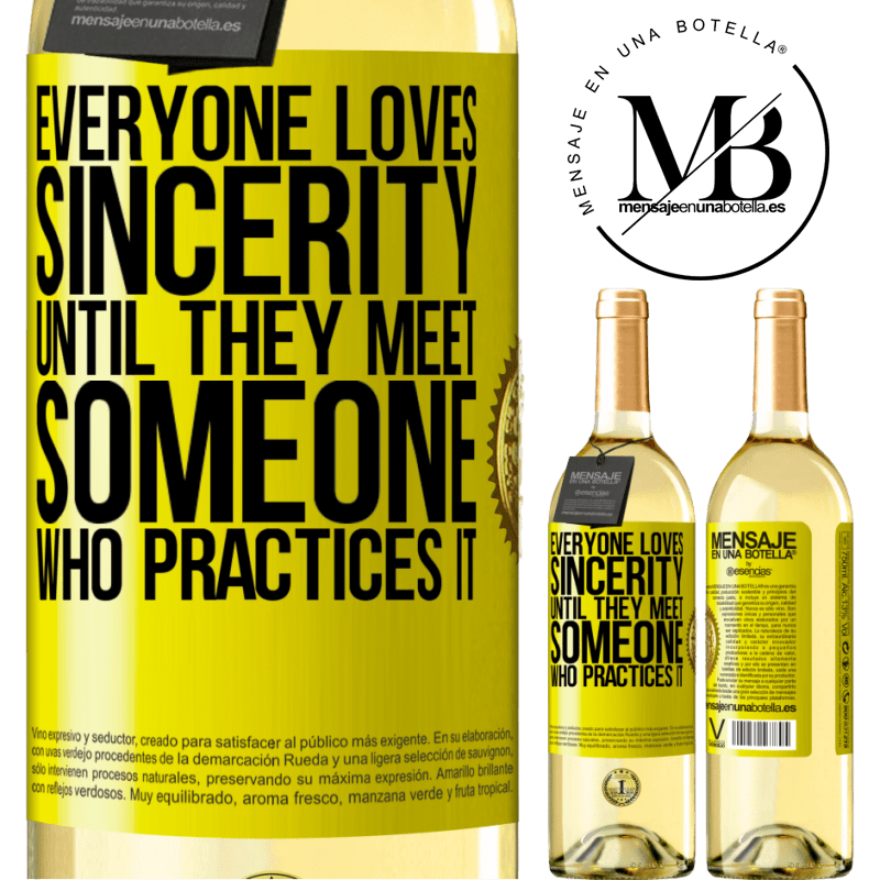 24,95 € Free Shipping | White Wine WHITE Edition Everyone loves sincerity. Until they meet someone who practices it Yellow Label. Customizable label Young wine Harvest 2020 Verdejo