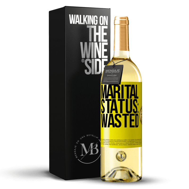 24,95 € Free Shipping   White Wine WHITE Edition Marital status: wasted Yellow Label. Customizable label Young wine Harvest 2020 Verdejo