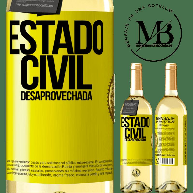 24,95 € Envío gratis | Vino Blanco Edición WHITE Estado civil: desaprovechada Etiqueta Amarilla. Etiqueta personalizable Vino joven Cosecha 2020 Verdejo