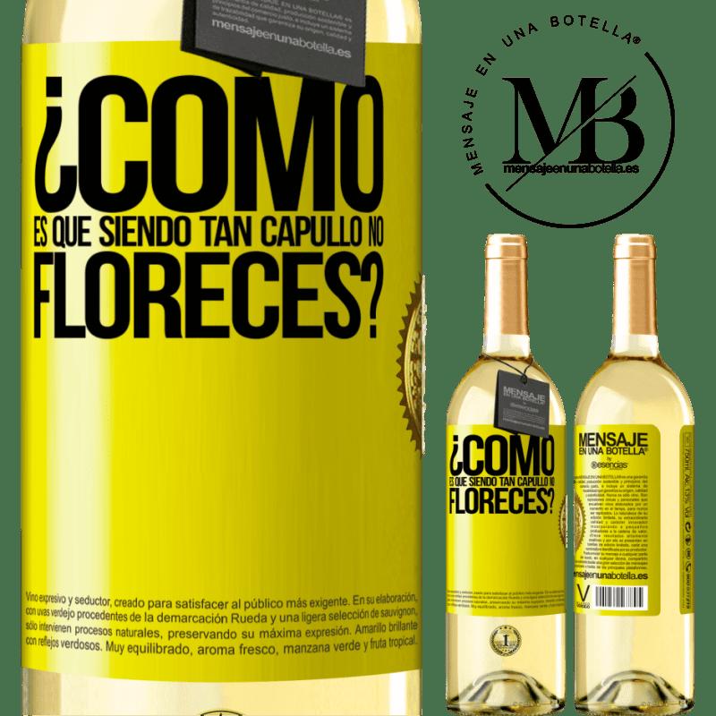 24,95 € Envío gratis | Vino Blanco Edición WHITE ¿Cómo es que siendo tan capullo no floreces? Etiqueta Amarilla. Etiqueta personalizable Vino joven Cosecha 2020 Verdejo