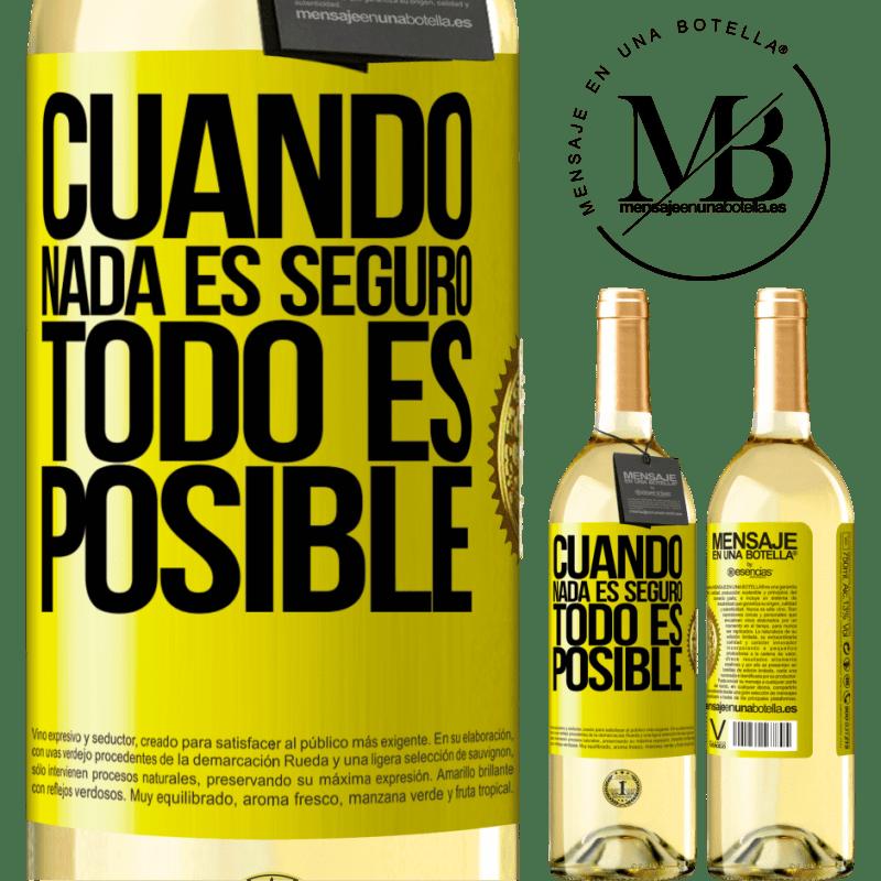 24,95 € Envío gratis | Vino Blanco Edición WHITE Cuando nada es seguro, todo es posible Etiqueta Amarilla. Etiqueta personalizable Vino joven Cosecha 2020 Verdejo