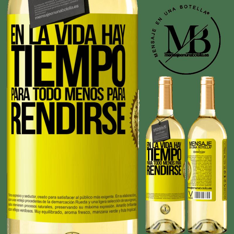 24,95 € Envío gratis   Vino Blanco Edición WHITE En la vida hay tiempo para todo menos para rendirse Etiqueta Amarilla. Etiqueta personalizable Vino joven Cosecha 2020 Verdejo