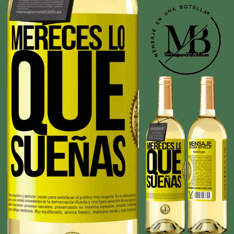 24,95 € Envío gratis   Vino Blanco Edición WHITE Mereces lo que sueñas Etiqueta Amarilla. Etiqueta personalizable Vino joven Cosecha 2020 Verdejo