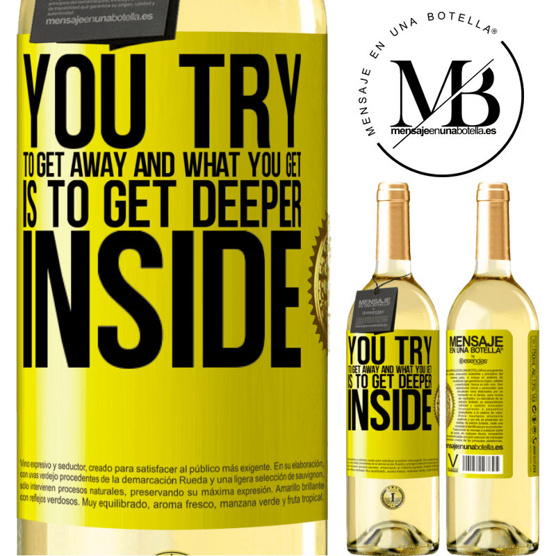 24,95 € Free Shipping | White Wine WHITE Edition You try to get away and what you get is to get deeper inside Yellow Label. Customizable label Young wine Harvest 2020 Verdejo