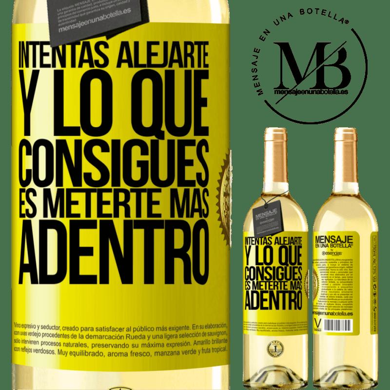 24,95 € Envío gratis | Vino Blanco Edición WHITE Intentas alejarte y lo que consigues es meterte más adentro Etiqueta Amarilla. Etiqueta personalizable Vino joven Cosecha 2020 Verdejo