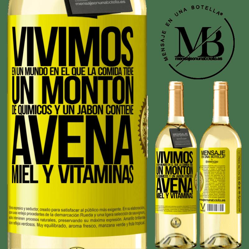 24,95 € Envío gratis   Vino Blanco Edición WHITE Vivimos en un mundo en el que la comida contiene un montón de químicos y un jabón contiene avena, miel y vitaminas Etiqueta Amarilla. Etiqueta personalizable Vino joven Cosecha 2020 Verdejo