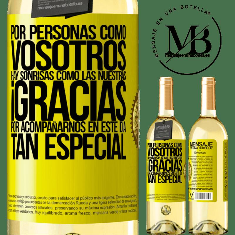 24,95 € Envío gratis | Vino Blanco Edición WHITE Gracias por estar junto a nosotros en este día tan especial Etiqueta Amarilla. Etiqueta personalizable Vino joven Cosecha 2020 Verdejo
