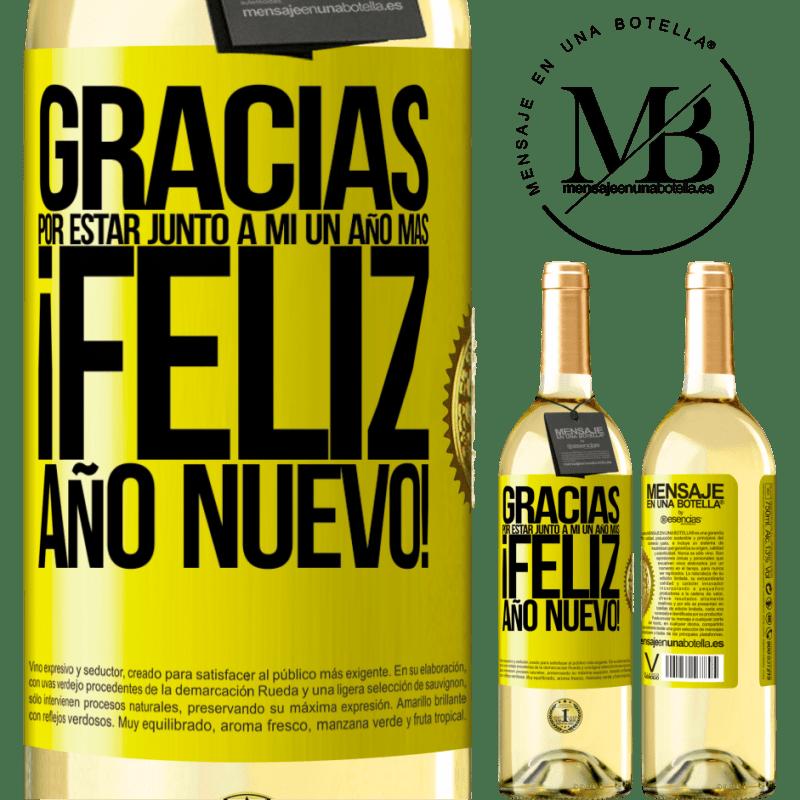 24,95 € Envío gratis | Vino Blanco Edición WHITE Gracias por estar junto a mí un año más. Feliz Año Nuevo! Etiqueta Amarilla. Etiqueta personalizable Vino joven Cosecha 2020 Verdejo
