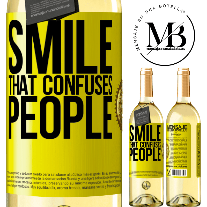 24,95 € Free Shipping | White Wine WHITE Edition Smile, that confuses people Yellow Label. Customizable label Young wine Harvest 2020 Verdejo