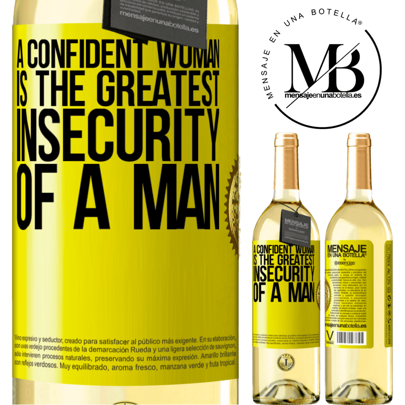 24,95 € Free Shipping | White Wine WHITE Edition A confident woman is the greatest insecurity of a man Yellow Label. Customizable label Young wine Harvest 2020 Verdejo