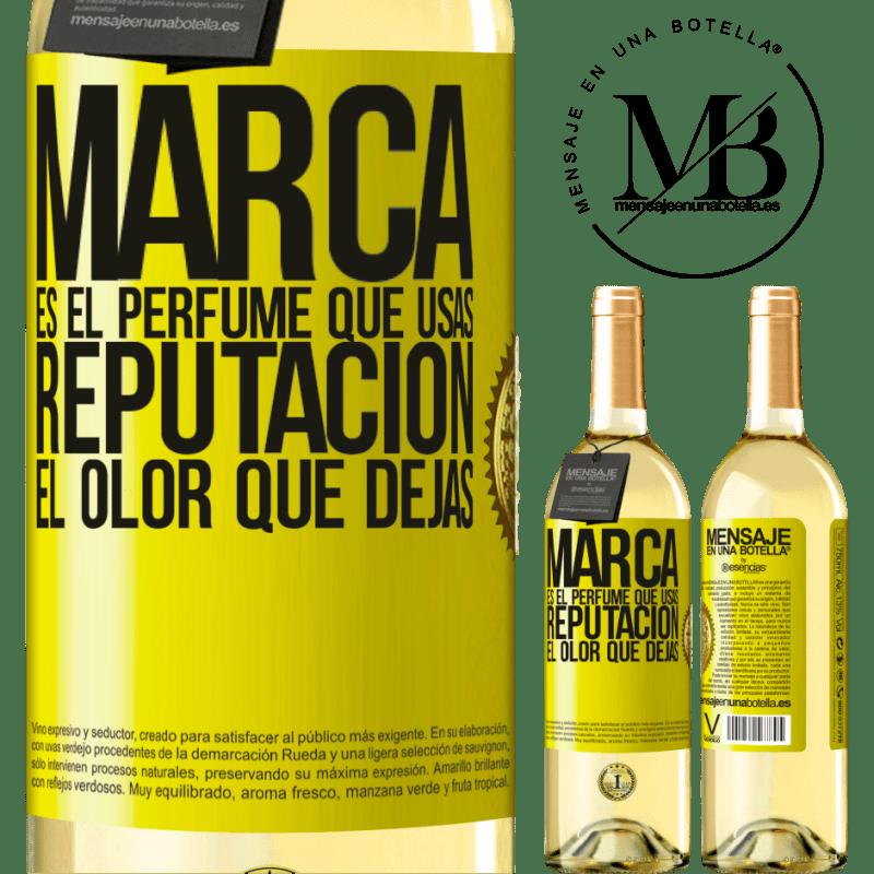 24,95 € Envoi gratuit | Vin blanc Édition WHITE La marque est le parfum que vous utilisez. Réputation, l'odeur que vous laissez Étiquette Jaune. Étiquette personnalisable Vin jeune Récolte 2020 Verdejo