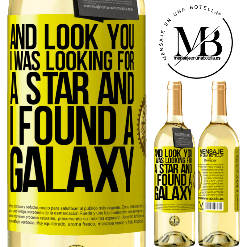24,95 € Free Shipping | White Wine WHITE Edition And look you, I was looking for a star and I found a galaxy Yellow Label. Customizable label Young wine Harvest 2020 Verdejo