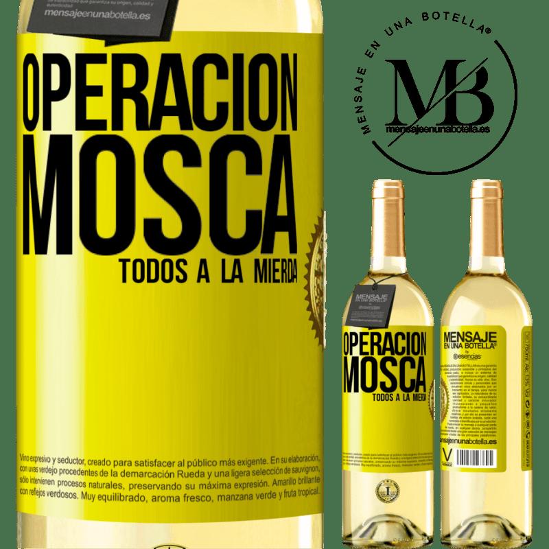 24,95 € Envío gratis | Vino Blanco Edición WHITE Operación mosca … todos a la mierda Etiqueta Amarilla. Etiqueta personalizable Vino joven Cosecha 2020 Verdejo
