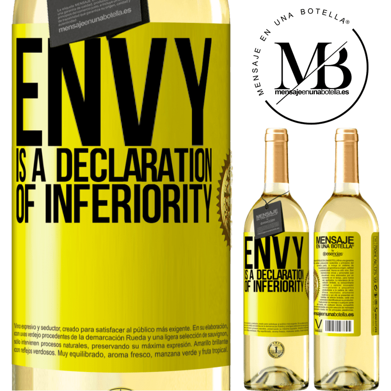 24,95 € Free Shipping | White Wine WHITE Edition Envy is a declaration of inferiority Yellow Label. Customizable label Young wine Harvest 2020 Verdejo