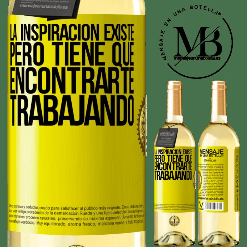 24,95 € Envoi gratuit   Vin blanc Édition WHITE L'inspiration existe, mais elle doit vous trouver en train de travailler Étiquette Jaune. Étiquette personnalisable Vin jeune Récolte 2020 Verdejo