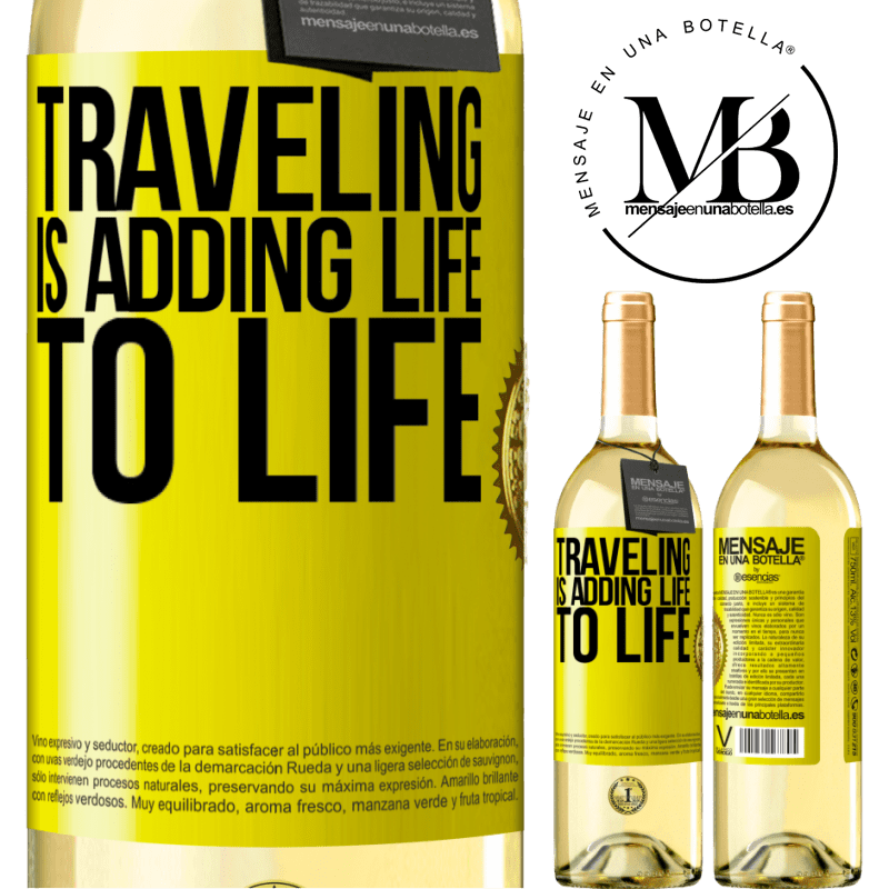 24,95 € Free Shipping | White Wine WHITE Edition Traveling is adding life to life Yellow Label. Customizable label Young wine Harvest 2020 Verdejo