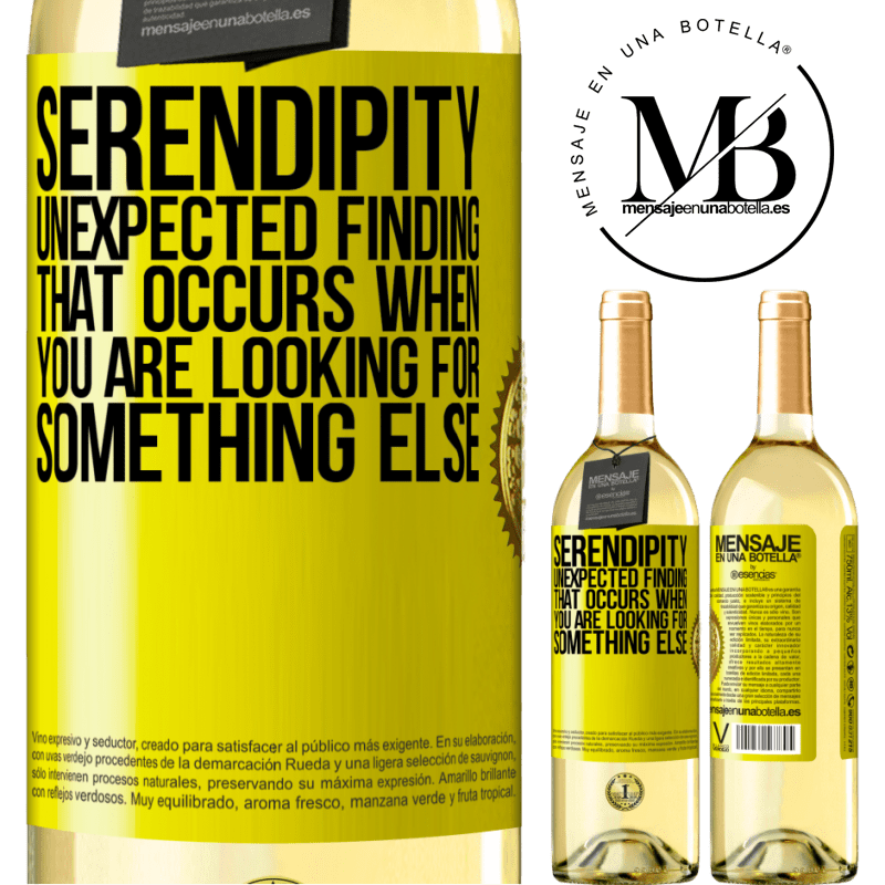24,95 € Free Shipping   White Wine WHITE Edition Serendipity Unexpected finding that occurs when you are looking for something else Yellow Label. Customizable label Young wine Harvest 2020 Verdejo