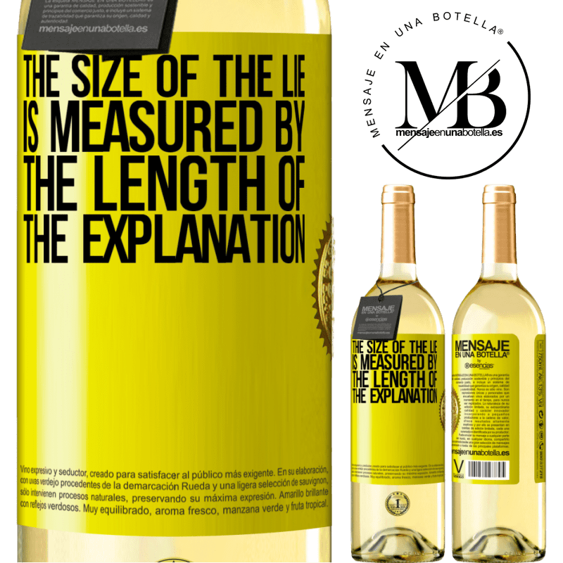 24,95 € Free Shipping | White Wine WHITE Edition The size of the lie is measured by the length of the explanation Yellow Label. Customizable label Young wine Harvest 2020 Verdejo