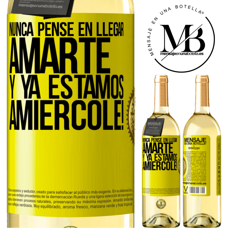 24,95 € Free Shipping | White Wine WHITE Edition I never thought of getting to love you. And we are already Amiércole! Yellow Label. Customizable label Young wine Harvest 2020 Verdejo