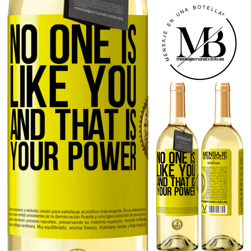 24,95 € Free Shipping | White Wine WHITE Edition No one is like you, and that is your power Yellow Label. Customizable label Young wine Harvest 2020 Verdejo
