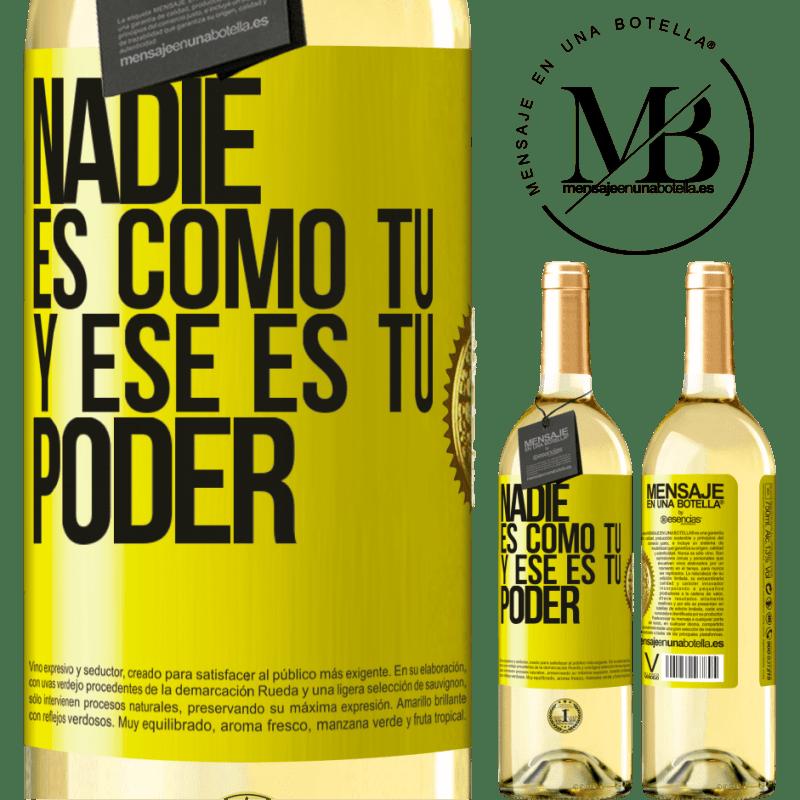 24,95 € Envío gratis   Vino Blanco Edición WHITE Nadie es como tú, y ese es tu poder Etiqueta Amarilla. Etiqueta personalizable Vino joven Cosecha 2020 Verdejo