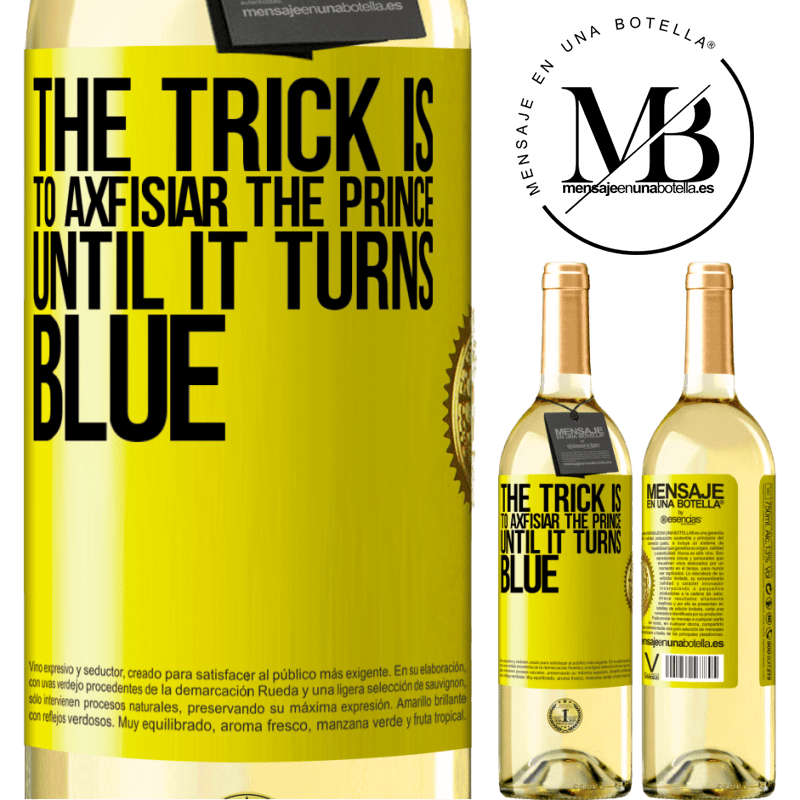 24,95 € Free Shipping | White Wine WHITE Edition The trick is to axfisiar the prince until it turns blue Yellow Label. Customizable label Young wine Harvest 2020 Verdejo