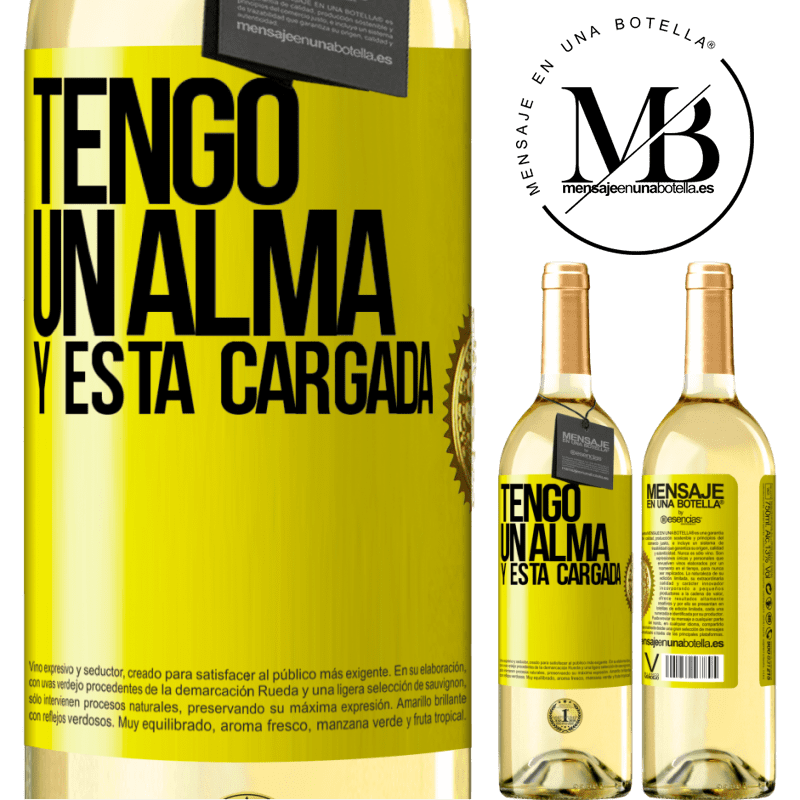 24,95 € Free Shipping | White Wine WHITE Edition Tengo un alma y está cargada Yellow Label. Customizable label Young wine Harvest 2020 Verdejo