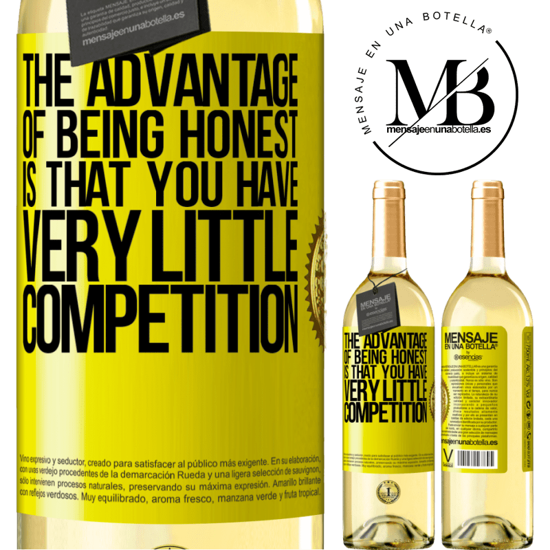 24,95 € Free Shipping | White Wine WHITE Edition The advantage of being honest is that you have very little competition Yellow Label. Customizable label Young wine Harvest 2020 Verdejo
