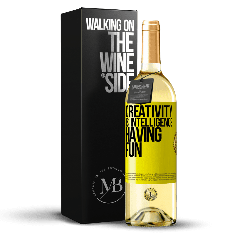 24,95 € Free Shipping   White Wine WHITE Edition Creativity is intelligence having fun Yellow Label. Customizable label Young wine Harvest 2020 Verdejo