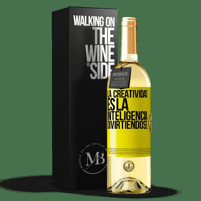 24,95 € Envoi gratuit   Vin blanc Édition WHITE La créativité, c'est l'intelligence qui s'amuse Étiquette Jaune. Étiquette personnalisable Vin jeune Récolte 2020 Verdejo