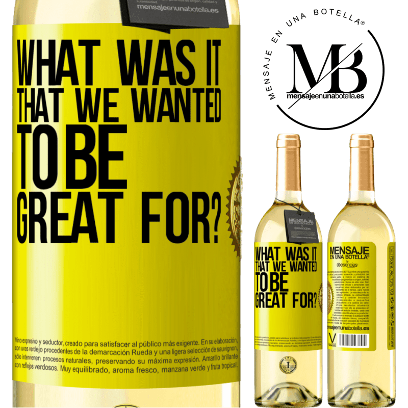 24,95 € Free Shipping | White Wine WHITE Edition what was it that we wanted to be great for? Yellow Label. Customizable label Young wine Harvest 2020 Verdejo