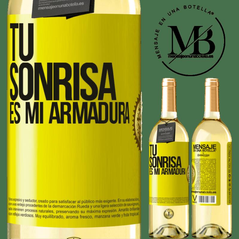 24,95 € Envío gratis | Vino Blanco Edición WHITE Tu sonrisa es mi armadura Etiqueta Amarilla. Etiqueta personalizable Vino joven Cosecha 2020 Verdejo